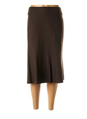 Jupe mi-longue marron FRANK WALDER pour femme