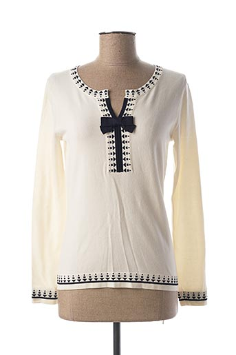 Pull col rond blanc GRÈGE pour femme