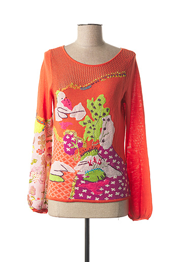 Pull col rond orange KENZO pour femme