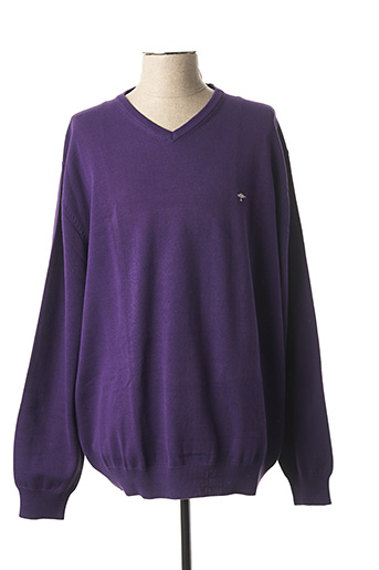 Pull col V violet FYNCH-HATTON pour homme