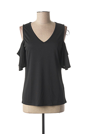 T-shirt manches courtes noir MARBLE pour femme