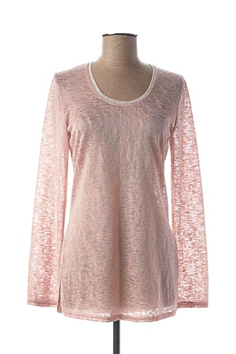 Pull col rond rose DOUBLE JEU pour femme