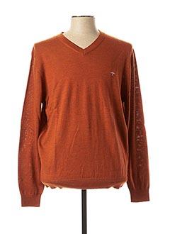 Pull col V orange FYNCH-HATTON pour homme