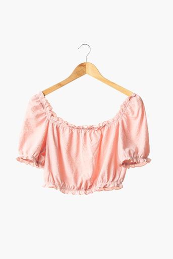 Blouse manches courtes rose DIVIDED H&M pour femme