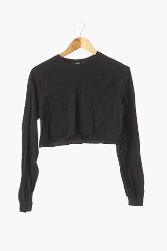 T-shirt manches longues noir BERSHKA pour femme