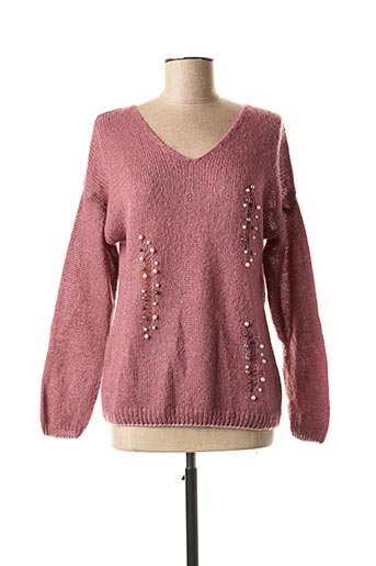 Pull col V rose FREE FOR HUMANITY pour femme