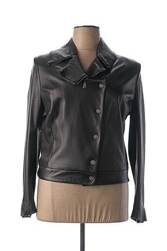 Veste en cuir noir MONTANA pour femme