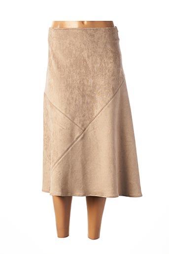 Jupe mi-longue beige TRICOT CHIC pour femme