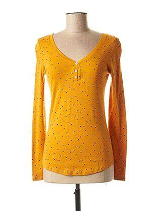 T-shirt manches longues jaune C'EST BEAU LA VIE pour femme