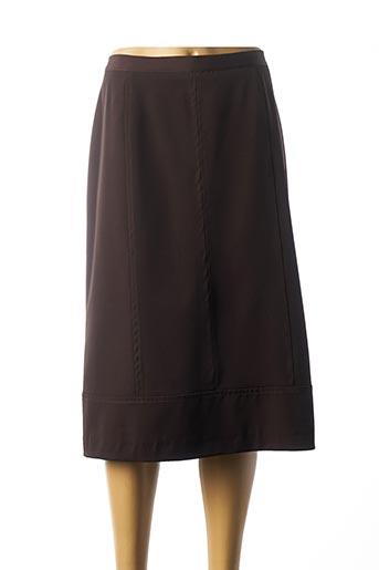Jupe mi-longue marron FRANCOISE F pour femme