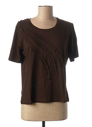 T-shirt manches courtes marron FRANCE RIVOIRE pour femme