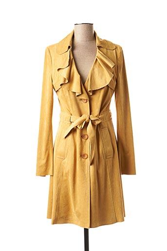 Manteau long jaune FEMMES JE VOUS AIME pour femme
