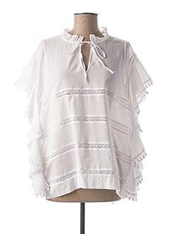 Blouse manches courtes blanc LAUREN VIDAL pour femme