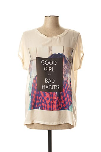 T-shirt manches courtes beige VERO MODA pour femme