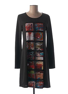 Robe mi-longue noir AVENTURES DES TOILES pour femme