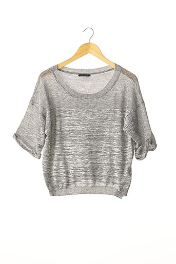 Pull col rond gris PINKO pour femme