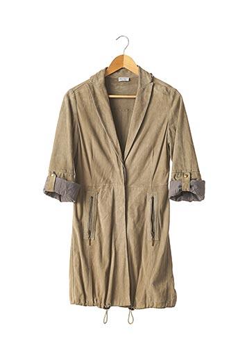 Veste en cuir beige BRUNELLO CUCINELLI pour femme
