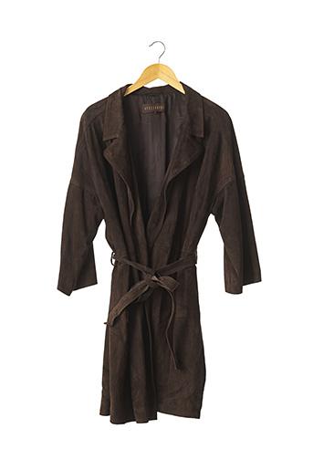 Veste en cuir marron APOSTROPHE pour femme