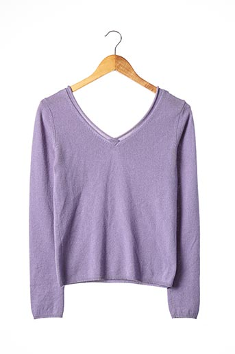 Pull col V violet ARMAND VENTILO pour femme
