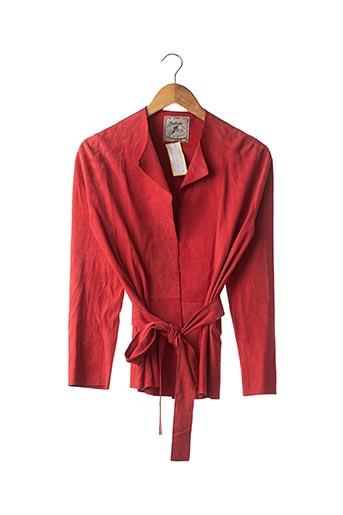 Veste en cuir rouge GALERIE BIRKEMEYER pour femme