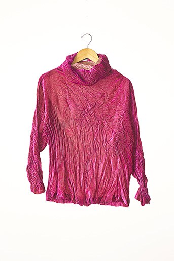 Pull col roulé rose ISSEY MIYAKE pour femme