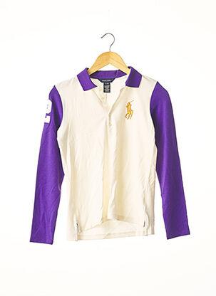 Polo manches longues violet RALPH LAUREN pour femme