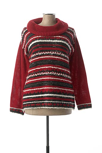 Pull col rond rouge EVALINKA pour femme