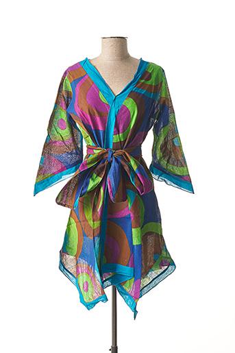 Robe mi-longue bleu DIPAWALI pour femme