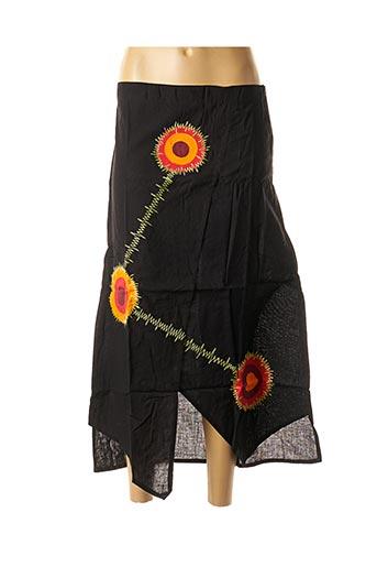 Jupe mi-longue noir DIPAWALI pour femme