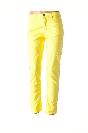Pantalon casual jaune MENSI COLLEZIONE pour femme