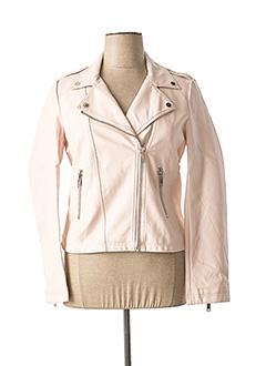 Veste simili cuir rose ESCANDELLE pour femme