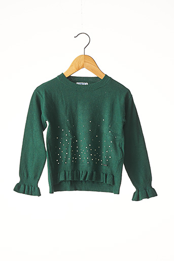 Pull col rond vert MAYORAL pour fille