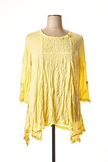 T-shirt manches longues jaune BE THE QUEEN pour femme
