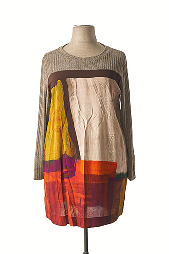 Robe pull beige FRANCK ANNA pour femme