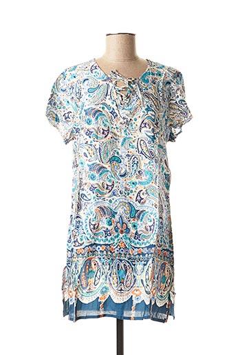 Tunique manches courtes bleu ROSE POMME pour femme