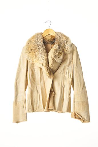 Veste en cuir beige SANS MARQUE pour femme