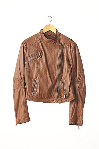 Veste en cuir marron BROOKLYN BRIDGE FACTORY pour femme