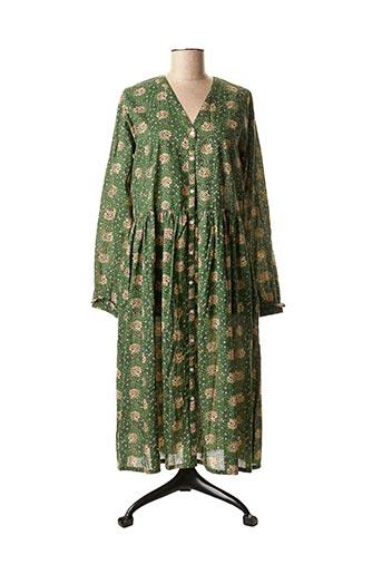 Robe mi-longue vert CHICOSOLEIL pour femme