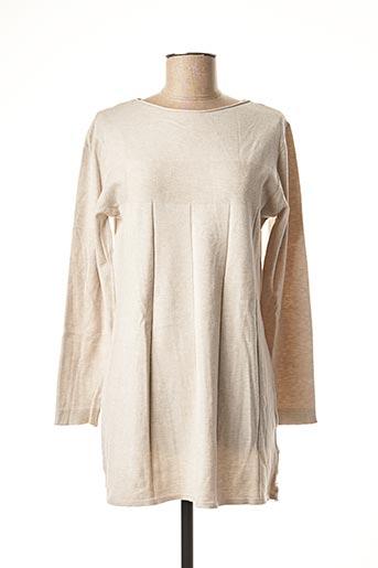 Pull tunique beige BLUOLTRE pour femme