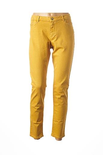 Pantalon casual jaune ONE STEP pour femme