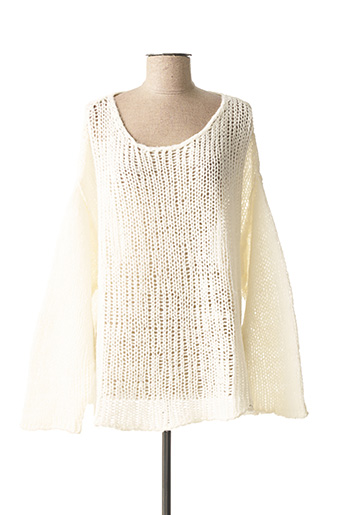 Pull col rond blanc AMERICAN VINTAGE pour femme