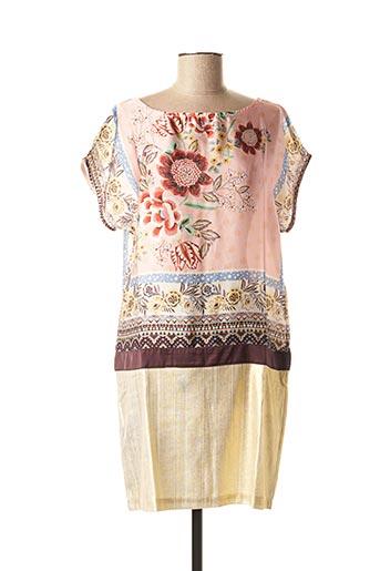 Robe courte rose LA FEE MARABOUTEE pour femme