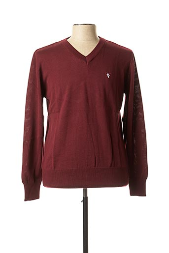 Pull col V rouge CAMBERABERO pour homme