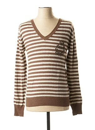 Pull col V marron RWD pour homme