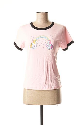 T-shirt manches courtes rose CORNER pour femme