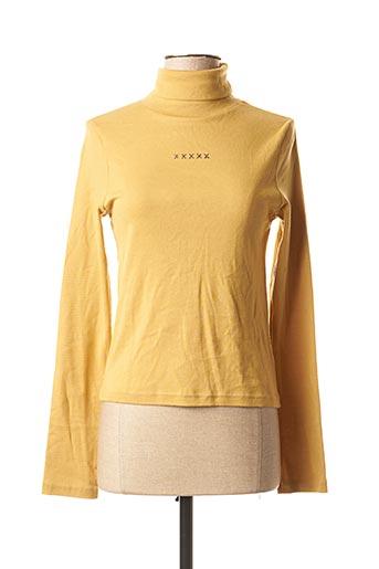 T-shirt manches longues jaune SCHOOL RAG pour femme