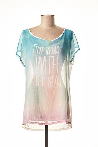 T-shirt manches courtes bleu TEDDY SMITH pour femme