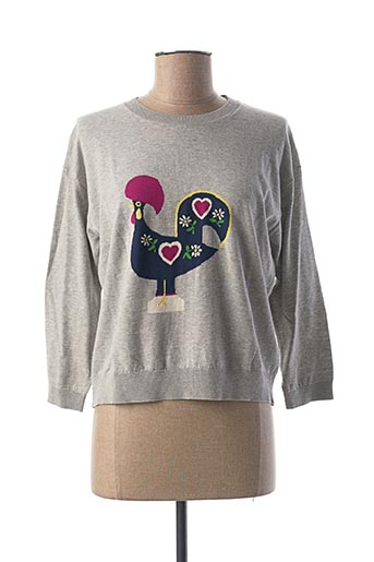 Pull col rond gris NICE THINGS pour femme