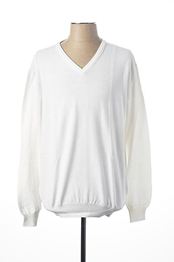Pull col V blanc PRIVATI FIRENZE pour homme