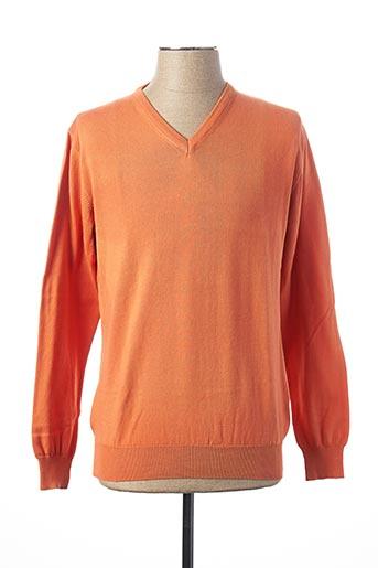 Pull col V orange PRIVATI FIRENZE pour homme